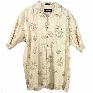 FUBU cream Expedition travel button down shirt XL